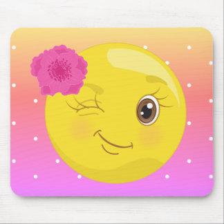 Flirty Girl Wink Emoji Polkadot Mousepad