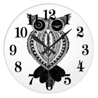 Flirty Owl Large Round Clock
