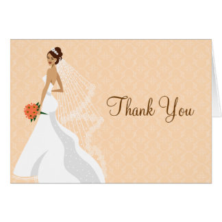 Flirty Peach Bridal Shower Thank You Card