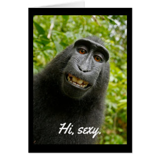 "Flirty primate says ""Hi, sexy"" Card"