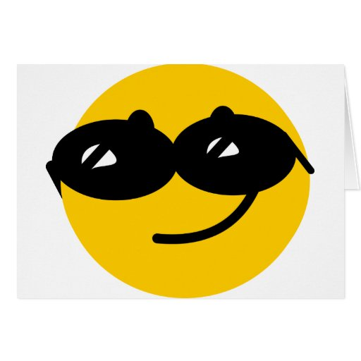 Flirty sunglasses smiley face greeting cards