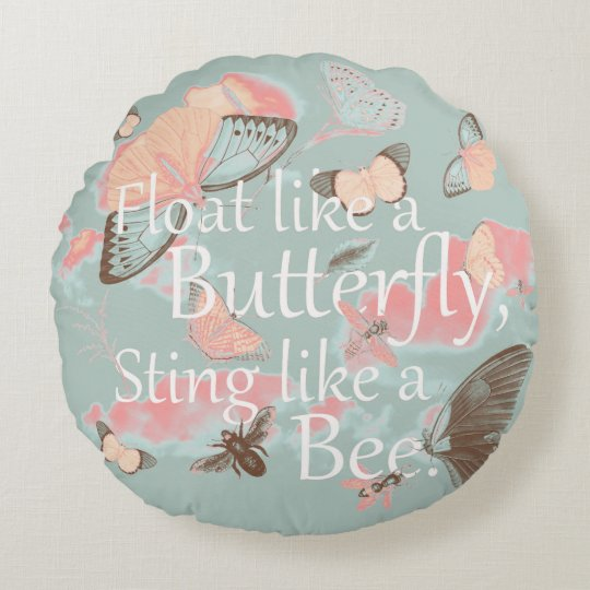 Float like a Butterfly Round Pillow