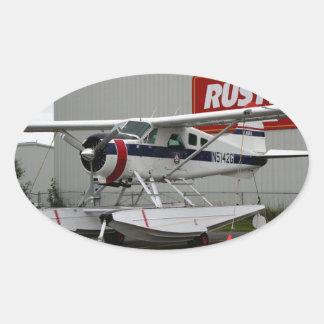 Float plane 24, Lake Hood, Alaska Oval Sticker