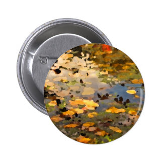 Floating Autumn Leaves Abstract 2 Inch Round Button