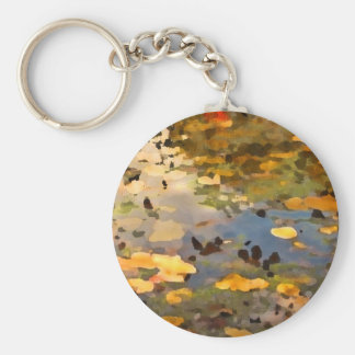 Floating Autumn Leaves Abstract Keychains