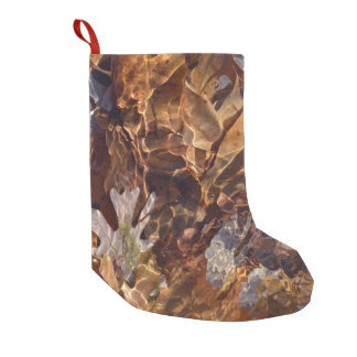 Floating Autumn Leaves Abstract Photography Camo Small Christmas Stocking