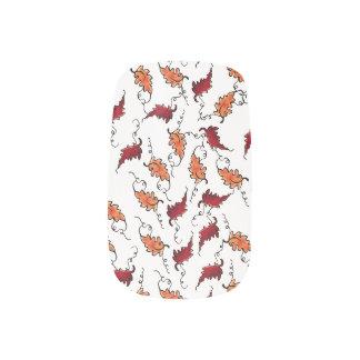 """Floating Autumn Leaves"" on White – Minx Finger Na Minx Nail Art"