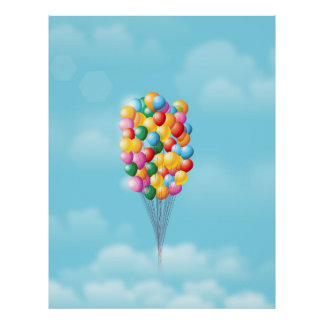 Floating Balloons up and away. Poster