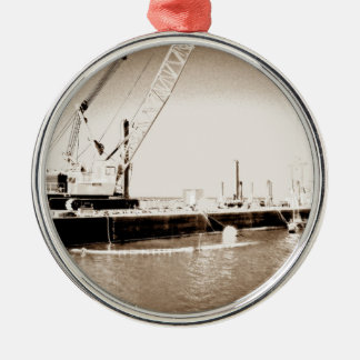 Floating Barge with crane sepia toned Metal Ornament