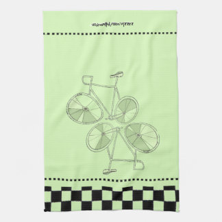 Floating Bicycles With Black and White Checks Kitchen Towel