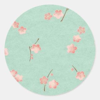 Floating Blossoms on Aqua Classic Round Sticker