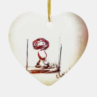 Floating Brain Bio Ceramic Heart Ornament