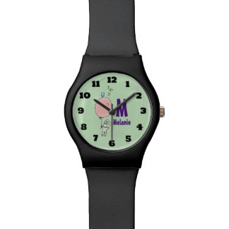 Floating Bunny Holding a Balloon Monogram Watch