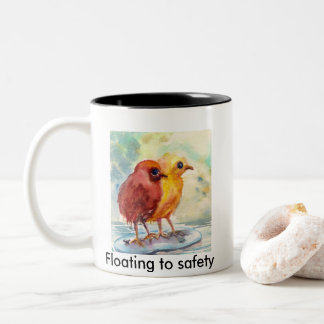 Floating chicks Two-Tone coffee mug