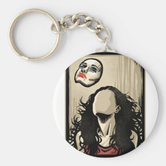 Floating Face Basic Round Button Keychain