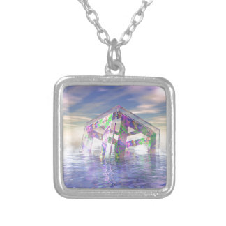 Floating Fractal Silver Plated Necklace