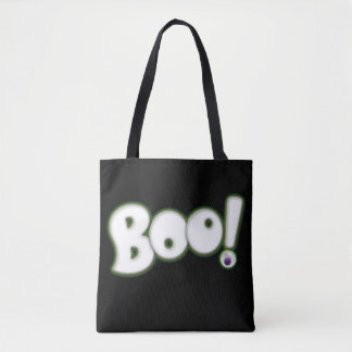Floating Ghost BOO Lettering Bloodshot Eye Black Tote Bag
