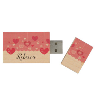 Floating Hearts USB Wood USB Flash Drive