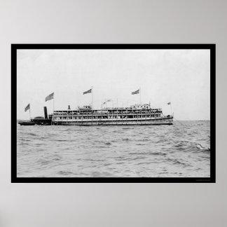 Floating Hospital Riverboat 1909 Poster