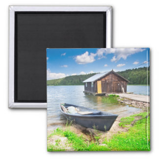 Floating House in the Nature Travel Square Magnet