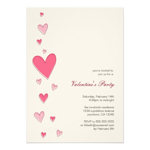 Floating Love Hearts | Valentine's Party Custom Announcements