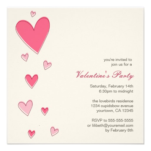 Floating Love Hearts | Valentine's Party Personalized Invites