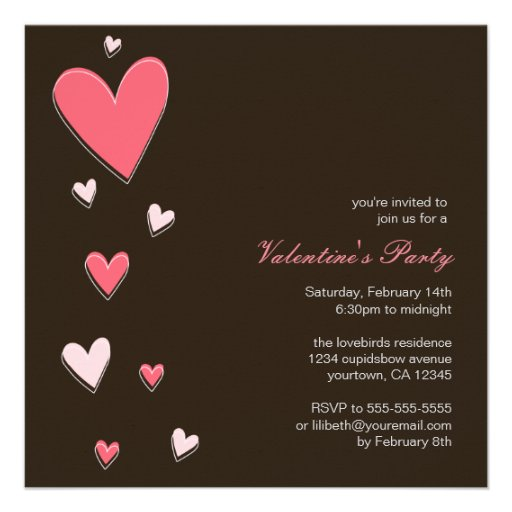 Floating Love Hearts | Valentine's Party Custom Invites