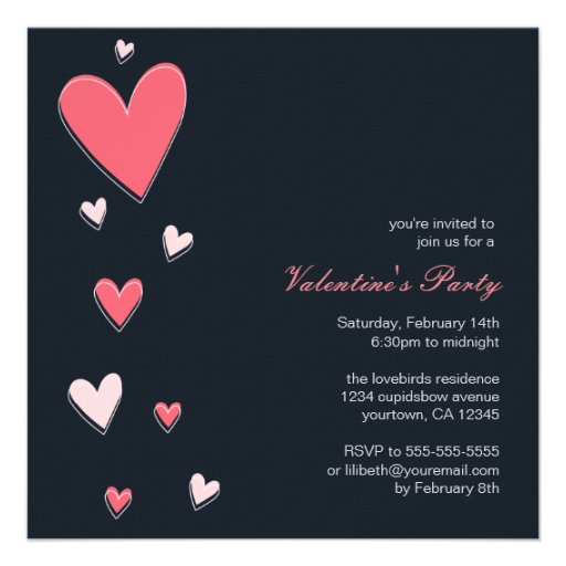 Floating Love Hearts | Valentine's Party Invitations