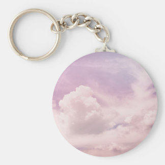 Floating on Fluffy Purple Clouds Keychain