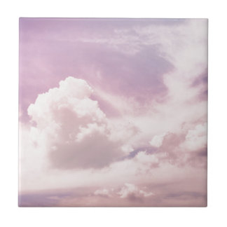 Floating on Fluffy Purple Clouds Tile