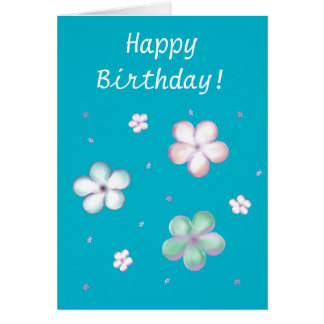 Floating Pastel Bubble Flowers Greeting Card