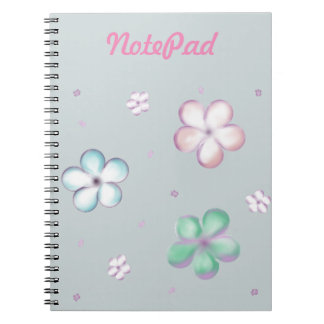 Floating Pastel Bubble Flowers Spiral Note Books