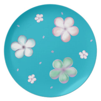 Floating Pastel Bubble Flowers Plate