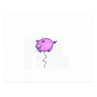 Floating pig postcard