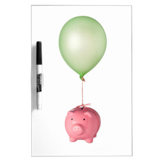 Floating piggy bank dry erase board