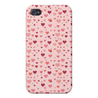 Floating Pink Hearts Valentine's Day Pattern iPhone 4/4S Covers