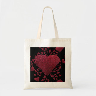 Floating Red Hearts A Glitter Tote Bag