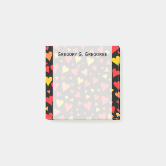 Floating Red, Orange and Yellow Hearts Pattern Post-it Notes