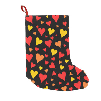 Floating Red, Orange and Yellow Hearts Pattern Small Christmas Stocking