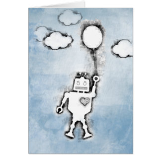 Floating Robot. Greeting Card