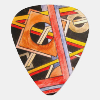 Floating Shapes-Hand Painted Abstract Geometric Guitar Pick