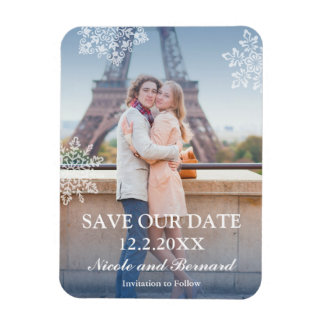 Floating Snowflakes Winter Photo Save the Date Rectangular Photo Magnet