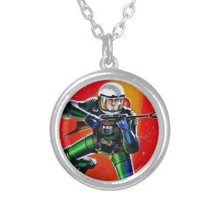 FLOATING SPACEMAN SILVER PLATED NECKLACE
