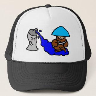 Floating Spray Paint Guy Trucker Hat