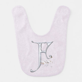 Floating Swans Silvery Letter F Monogram Bib
