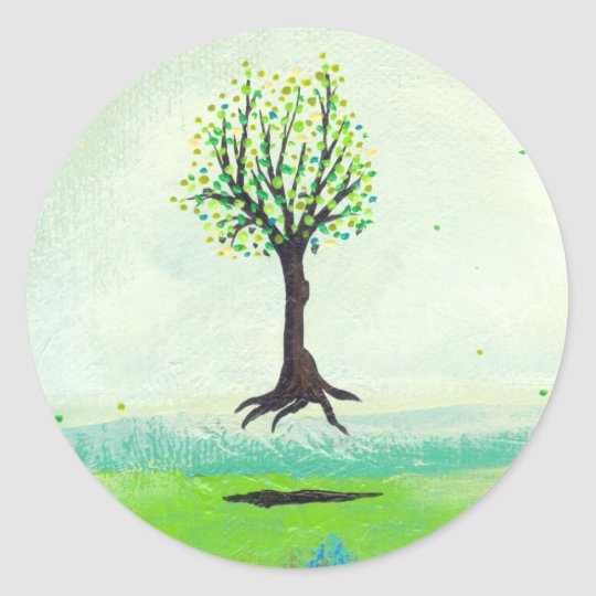 Floating tree colourful modern art In Motion Classic Round Sticker