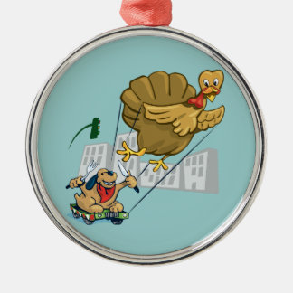 Floating Turkey Dinner Silver-Colored Round Ornament