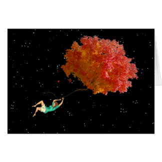 FLOATING WITH LEAVES by Slipperywindow Card
