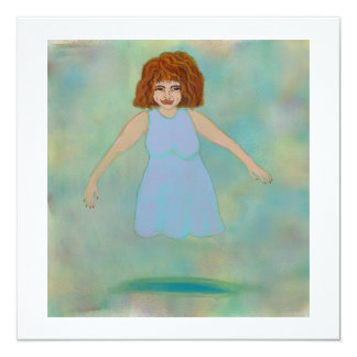 "Floating woman odd strange outsider brut folk art 5.25"" square invitation card"