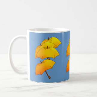 Floating yellow umbrella coffee mug